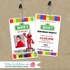 Elmo is here! You can choose this vip pass an invite or as a favor. The sesame street elmo is favorite among toddlers! Custom made to order