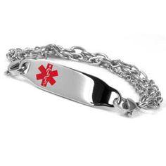 Medical ID Multi Strand Stainless Bracelet