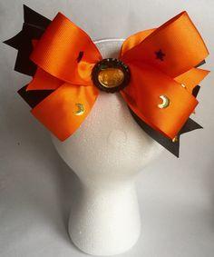 "8"" Halloween ""Pumpkin, Star, Moon"" Inspired Hair Bow"