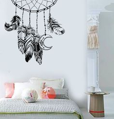 Vinyl Wall Decal Dreamcatcher Feathers Bedroom Design Nursery Stickers Unique Gift from Nursery Stickers, Vinyl Wall Stickers, Vinyl Art, Wall Painting Decor, Wall Decor, Bedroom Decor, Nursery Design, Wall Design, Master Bedroom Design