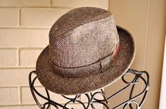 Vintage Wool Fedora Tweed Mauve Gray by ArmorOfModernMen on Etsy, $32.00