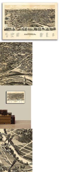 24x32 Bird/'s Eye View 1891 Bristol RI Vintage Style City Map