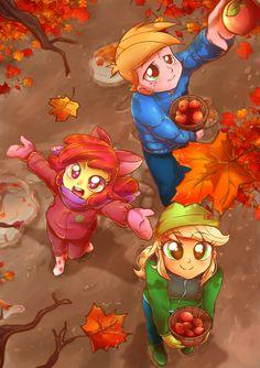 #1246735 - apple, apple bloom, applejack, artist:kelsea-chan, autumn, big macintosh, equestria girls, food, safe - Derpibooru - My Little Pony: Friendship is Magic Imageboard