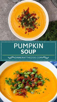 Cream Of Pumpkin Soup, Roast Pumpkin Soup, Best Soup Recipes, Chicken Recipes, Healthy Recipes, Easy Cooking, Cooking Recipes, Bacon Soup, Recipes