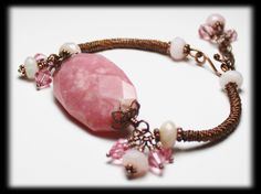 Handmade Jewelry Bracelet Beaded Bangle Cuff Wire Wirework Rose Pink Opal Gemstone Crystal Antique Copper Adjustable...Rosebud. $42.00, via Etsy.