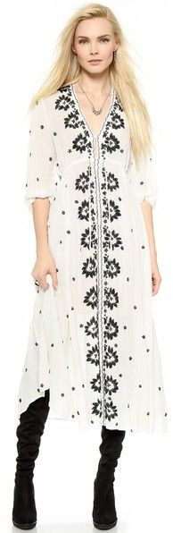 Free People Embroidered V Neck Dress. I'd wear this as a bathing suit coverup.