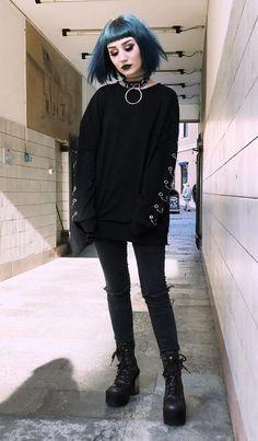 Nu-goth style look by faeteeth - #halloween #fashion #alternative #nugoth