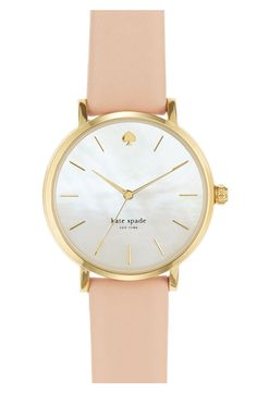 kate spade new york 'metro' round leather strap watch