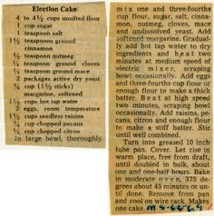 Election Cake - Historic Recipe - Collections hosted by the Milwaukee Public Library Retro Recipes, Old Recipes, Vintage Recipes, Cookbook Recipes, Baking Recipes, Cake Recipes, Dessert Recipes, Family Recipes, Recipies