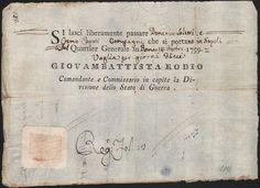 BRIGANTAGGIO-GIOVAMBATTISTA RODIO-LASCIAPASSARE PER DUE SOLDATI-14 OTTOBRE 1799