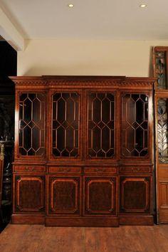 Victorian Walnut Breakfront Bookcase Book Case