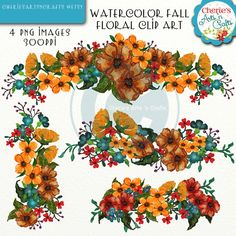 Watercolor Fall Floral Swags Clip Art Floral by CheriesArtsnCrafts