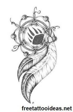 Indian Feather With Bear Paw Print Dreamcatcher Tattoo Design