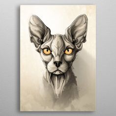 Wild Animals Series // Sphynx Add striking, natural style to your home decor with a stunning metal print by Spanish illustrator and graphic designer Rafapasta. Each print features multiple l Nature Posters, Nature Illustration, Animal Posters, Sphynx Cat, Cat Drawing, Cat Tattoo, Print Artist, Art Plastique, Animal Drawings