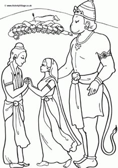 Hanuman colouring page; Hanuman helps Rama to rescue Sita and the couple are reunited Free Kids Coloring Pages, Colouring Pages, Diwali Story, Diwali Lantern, Rama Sita, Lord Rama Images, Bhagavata Purana, Dont Touch My Phone Wallpapers, Art Drawings For Kids