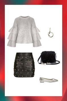 5 Going-Out Outfits That Require Minimal Effort #refinery29  http://www.refinery29.com/aerosoles-versatile-holiday-party-outfits#slide-3  Keep things on-trend with your go-to silver flats and statement sleeves — but in a cozy knit for the cooler temps. To inject some party vibes into the ensemble, look for a leather mini with unexpected adornments (tights optional) and of-the-moment accessories: A minimalist ear cuff and shaggy shoulder bag will do the trick. ...