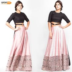 love the skirt part of this lehenga Wedding Lehenga Online, Indian Couture, Pink Black, Wedding Designs, Ethnic, Traditional, Fashion Outfits, Modern, Skirts