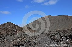 The view to the volcanic cone in Timanfaya National Park - a popular tourist destination on Lanzarote.