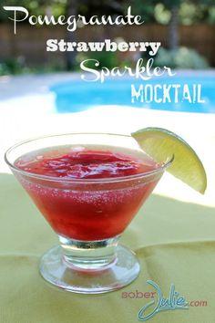 Pomegranate Sparkler Drink Recipe - @SoberJulie.com #DrinkRecipe #Mocktail #DrinkRecipes