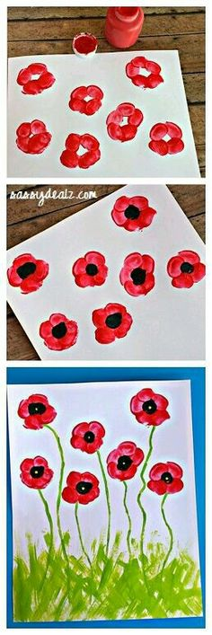 Fingerprint Poppy Flower Craft for Kids! art projec… Fingerprint Poppy Flower Craft for Kids! Kindergarten Art, Preschool Crafts, Kids Crafts, Arts And Crafts, Painting Crafts For Kids, Children Painting, Art Children, Flower Crafts Kids, Toddler Crafts
