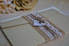 Pocketfold Rustic Wedding Invitation, Mint Wedding Invitation, Shabby Chic Wedding Invitation, Vintage Wedding Invitation, Burlap Lace