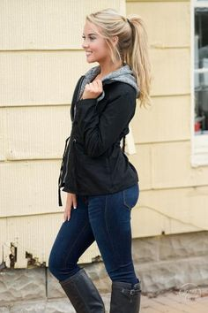 Kick autumn off the right way...in this adorable jacket! This is the perfect style to wear to those chilly football games! Black, hooded cargo jacket with doubl