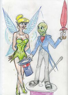 Jiminy Cricket and Tinkerbell by theaven.deviantart.com on @DeviantArt