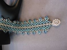 Handmade Turquoise Super Duo with Crystals Beaded Bracelet