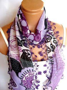 Lavender Lilac Purple Scarf chiffon Turkish OYA by WomanStyleStore, $22.00