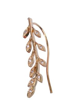 Climbing earing Gold Leaves With Zircons. Fashion Jewlery. Made of 12-14k micron goldfild.  Made of 12-14k micron goldfild. sku:18019