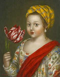 Girl with Prized Tulip (2014) by Fatima Ronquillo (b. 1976), Philippine born/lives in US - her classically inspired imagery evokes a world of serenity and charm. Her paintings of mysterious personages, often set against pastoral and idyllic landscapes, are accented with an underlying sense of drama and playfulness. These intimate works are painted in the style of European old masters coupled with a magical realism rooted in folk and colonial Latin American traditions (fatimaronquillo)