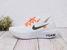 5f68ffb3be9 Off White X Nike Epic React Flyknit White Black Orange 2018 Cheapest Shoe  Popular Sneakers