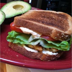 Chicken and Hummus sandwich. Chicken breast cooked with Mrs.Dash Salt Free seasoning. 100% whole wheat toast, original hummus spread, tomatoes, lettuce and avocado either on the side or on it. Soooo yummy and healthy. It's my staple and go to meal while on the Advocare Cleanse.