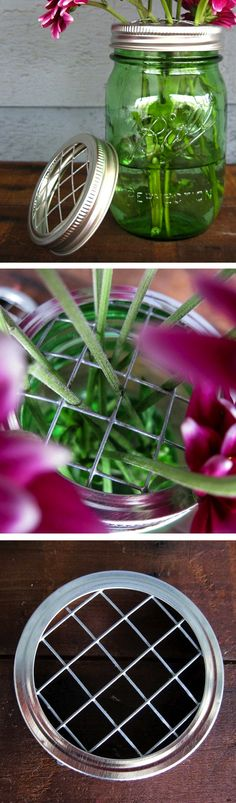DIY Mason Jar Vase Lids | Keeps flower stems nicely spread out in your mason jars