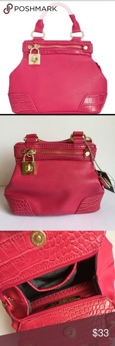 """New Olivia and Joy Emma pink mini satchel purse Feeling haute, haute, haute! Make a scene with this show-stopping style from Olivia + Joy. Turned out in supple faux leather with high-fashion accents, this mini satchel shape carries everything an """"it"""" girl needs. Fuchsia.  Olivia + Joy mini satchel  The Emma Collection  Pink with gold tone hardware  Condition: New with tags! Missing shoulder strap Retails $68 + tax!  Comes from a smoke free home  Stock #: AMR9-341 Olivia + Joy Bags Mini Bags"""