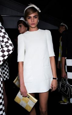 little white dress- Cara Delevingne at Louis Vuitton Spring 2013