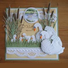 Kaartengalerij - Marianne Design, Card with swans Making Greeting Cards, Greeting Cards Handmade, Pop Up Cards, Cool Cards, Card Making Inspiration, Making Ideas, Marianne Design Cards, Spellbinders Cards, Cricut Cards