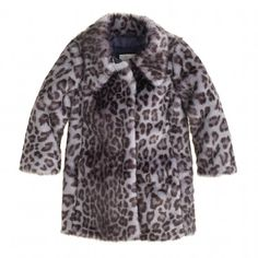 J. Crew Girls Furry Leopard Coat