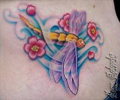 tattoo rose tattoo dragonfly and cherry blossoms tattoo juan salgado Dragonfly Tatoos, Dragonfly Wall Art, Dragonfly Tattoo Design, Tattoo Designs, Tattoo Ideas, Rose Tattoos, Flower Tattoos, Body Art Tattoos, Butterfly Tattoos