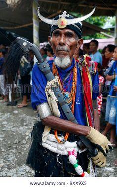 Old man wearing traditional warrior dress, Dili, Timor Leste (East Timor)