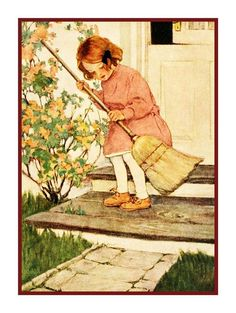 Jessie Willcox Smith Young Girl Sweeping Front Step Counted Cross Stitch Chart