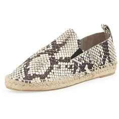 Vince Robin Snake-Print Espadrille ($112) ❤ liked on Polyvore featuring shoes, sandals, python sandals, braided leather sandals, woven stretch shoes, stretching shoes and snake print sandals