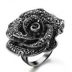 Exaggerating Blossom Black Rose With Crystal Woman's Ring - USD $63.95