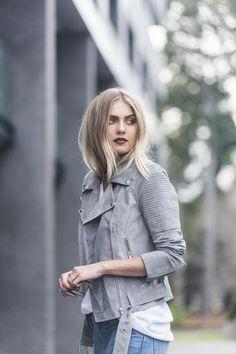 Classic Biker Jacket – Grey – Suede – Hola Pretty