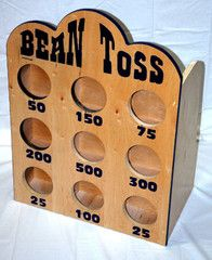 """Bean Toss Indoor and Outdoor Carnival Game  3/4"""" Birch Plywood. Specifications: H:36"""" x D:12"""" x W:25""""   Player tosses 3 bean bags –"""