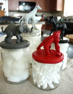 DIY Animal Jars Look Hanner, safari bathroom jars!!