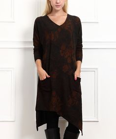 Look at this Brown & Black Floral Handkerchief Dress on #zulily today!