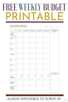 If you get easily overwhelmed with budgeting, never stick to it and end up abandoning it - then I loved this Easdy Weekly Budget template printable. It took less than 2 min, everything is on one… Living On A Budget, Simple Living, Weekly Budget Printable, Stock Room, Reward System, Screwed Up, Frugal, Saving Money, Budgeting