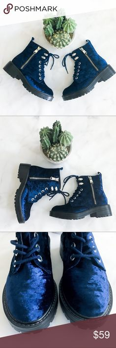 Steve Madden Revive Blue Velvet Lace Up Boots Brand new, unworn, in box with original stickers. Box is a little rough but boots are 👌🏻. (015-0000)   PRODUCT DETAILS: •Size: 7 •Colors: Royal Blue •Made in China •Combat / Military Style •Lace Up with fictional Zipper •Blue Crushed Velvet Material  •Silver Hardware  Tags: festival Coachella concert party club dance punk edgy scene gothic goth emo furry soft combat Moto Steve Madden Shoes Combat & Moto Boots