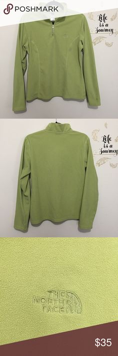 The North Face TKA 100 Quarter Zip Fleece This comfy fleece in moss/kiwi/light green is perfect for a breezy spring day! Lightweight fleece. Excellent condition, no flaws! North Face Tops Sweatshirts & Hoodies